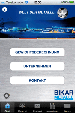 BIKAR App 'Metal World' - Free of charge weight and price calculator for your smartphone