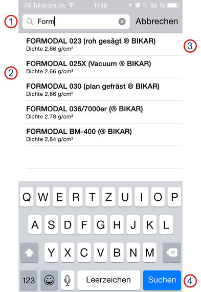 BIKAR-App 'Metal World' - Help iOS - Material selection