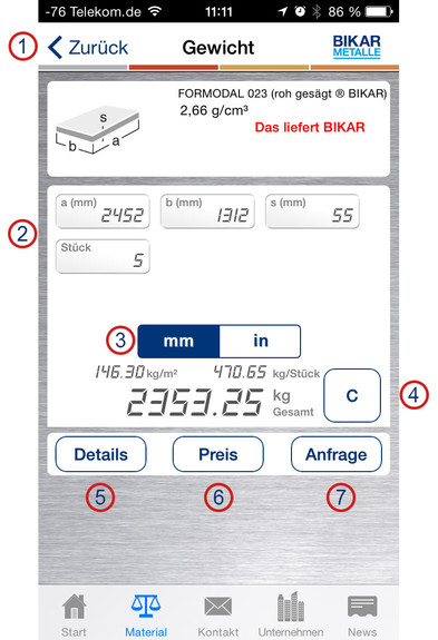 BIKAR-App 'Metal World' - Help iOS - Weight calculation