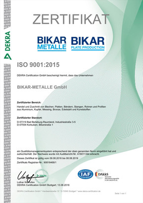 DIN EN ISO 9001-2015 DEKRA (Qualitätsmanagement)