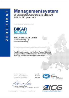 DIN EN ISO 9001-2015 ICG (Qualitätsmanagement)