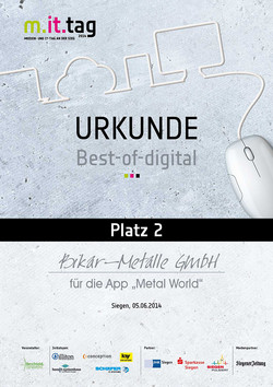 m.it.tag 2014 - Medien- und IT-Tag an der Sieg - 'Best-of-digital'-Award für BIKAR-METALLE (2. Platz)