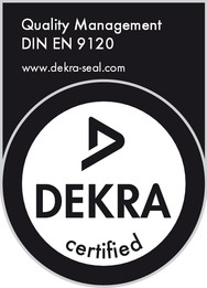 We are long-time holders of both EN ISO 9001 and EN ISO 14001. Since 2016, we have been certified according to EN 9120 by the independent and renowned DEKRA examining organization.